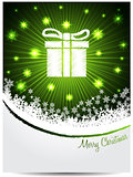 Green white christmas greeting with bursting gift box