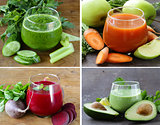collage set assorted fresh smoothies from fruits and vegetables