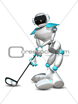 3D Illustration Robot Golfer