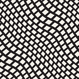 Vector Seamless Black and White Distorted Wavy Lines Pavement Pattern