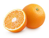 Orange citrus fruit with half isolated on white