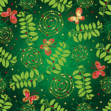 Seamless green gradient pattern with leaves