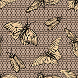 Vector seamless pattern with butterflies on net . Stylish graphic lattice texture. Repeating print in yellow color old-styled background