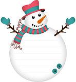 Cute snowman label sticker
