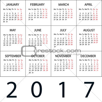 Calendar 2017 white Vector background.