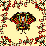 Vector illustration happy Thanksgiving Beautiful colorful ethnic