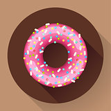 Cute sweet colorful donut icon. Flat designed style.