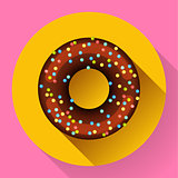 Cute sweet colorful chocolate donut icon. Flat designed style.