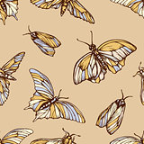 Vector seamless pattern with colorful butterflies . Stylish graphic texture. Repeating print in soft pastel colors background