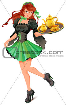 Beautiful woman waiter carries tray with tea