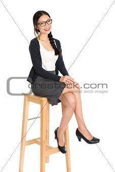 Fullbody young Asian female sitting