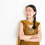 Mixed race Indian female in sari dress
