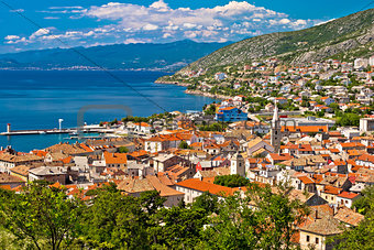 Town of Senj seafront aerial view