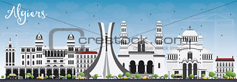 Algiers Skyline with Gray Buildings and Blue Sky.