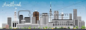 Auckland Skyline with Gray Buildings and Blue Sky.
