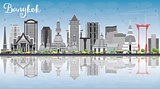 Bangkok Skyline with Gray Landmarks, Blue Sky and Reflections.