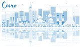 Outline Cairo Skyline with Blue Buildings and Reflections.