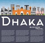 Dhaka Skyline with Gray Buildings, Blue Sky and Copy Space.