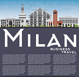 Milan Skyline with Gray Landmarks, Blue Sky and Copy Space.