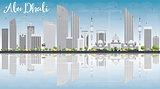 Abu Dhabi City Skyline with Gray Buildings, Blue Sky and Reflect