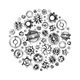 Glossy metal cogwheels arranged in a circle shape isolated on white