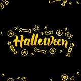 Halloween Gold Lettering over Black