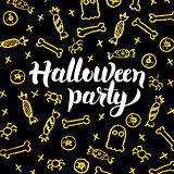 Halloween Party Gold Black Postcard
