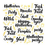 Halloween Party Lettering Design Set
