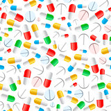 Colourful pills on white, seamless pattern