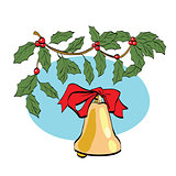 Christmas bell on berry branch