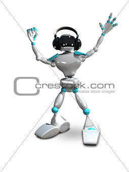 3D Illustration of a Robot in Headphones