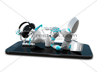 3D Illustration of a Robot in the Earpiece on Smartphone