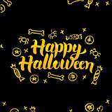 Happy Halloween Gold Black Greeting Card