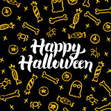 Happy Halloween Gold Black Postcard