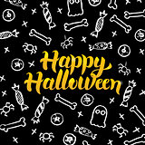 Happy Halloween Black Gold Postcard