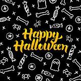 Happy Halloween Black Gold Postcard