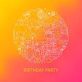 Line Birthday Icons Circle Concept