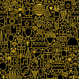 Line Gold Black Birthday Tile Pattern