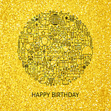 Line Happy Birthday Gold Concept