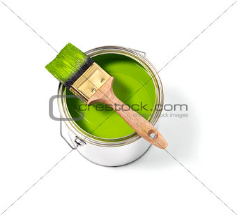 Green paint tin can