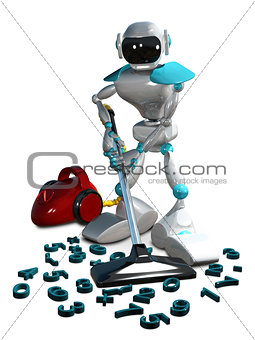 3D Illustration of a Robot with a Vacuum Cleaner