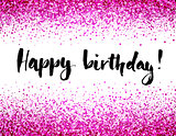 Birthday card with letterin and pink glitter background.