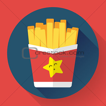 French fried potato in paper box. Fast food vector icon. Flat designed style.