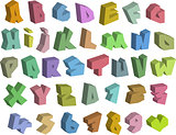 3D graffiti color fonts alphabet and number over white