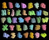 3D graffiti color fonts alphabet and number over black