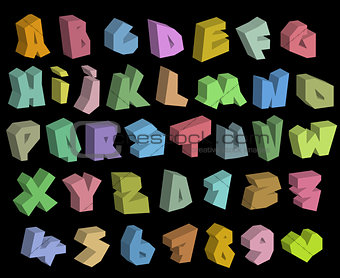 3D graffiti color fonts alphabet and number over black