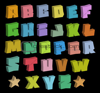 3D graffiti blocky color fonts alphabet over black