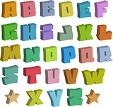 3D graffiti blocky color fonts alphabet over white