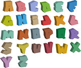 3D graffiti color fonts alphabet over white