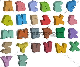 3D graffiti color fonts alphabet over white